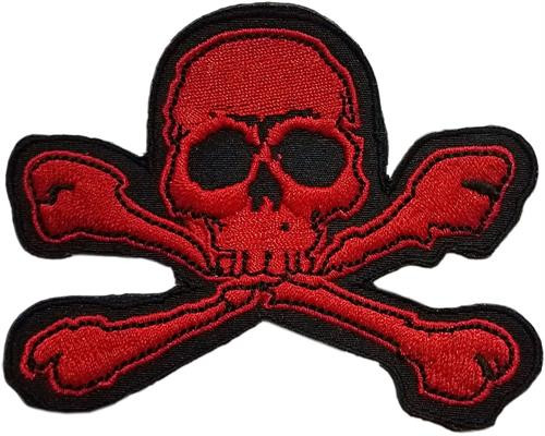 "Red Skull & Crossbones - Embroidered Sew On Patch 3 1/2"" X 2 1/2"" Image"