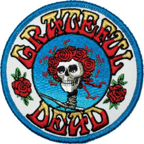 "Grateful Dead Skull and Roses - Iron On Embroidered Patch 3.5"" Round Image"