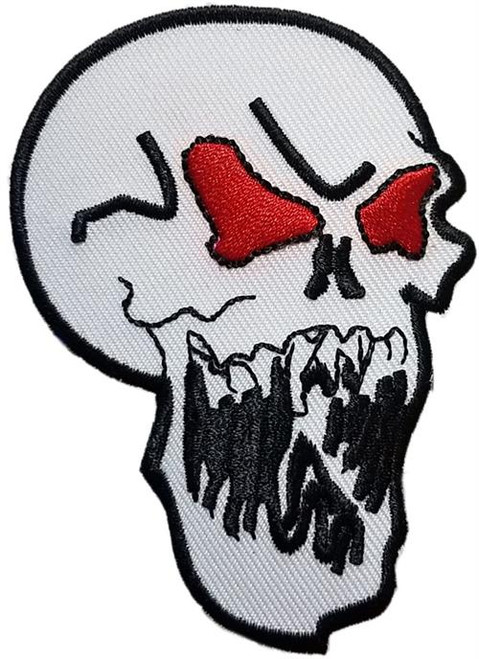 "Skull Embroidered Sew On Patch - 2 1/4"" X 3"" Image"