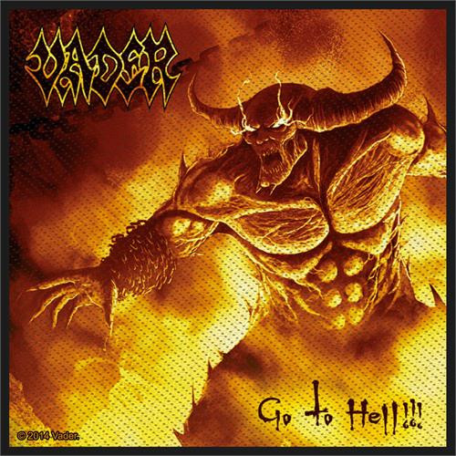 """Vader Go To Hell - Woven Sew On Patch 4"""" x 4"""" Image"""