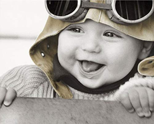 Baby Pilot Kim Anderson Black and White Poster 20x16