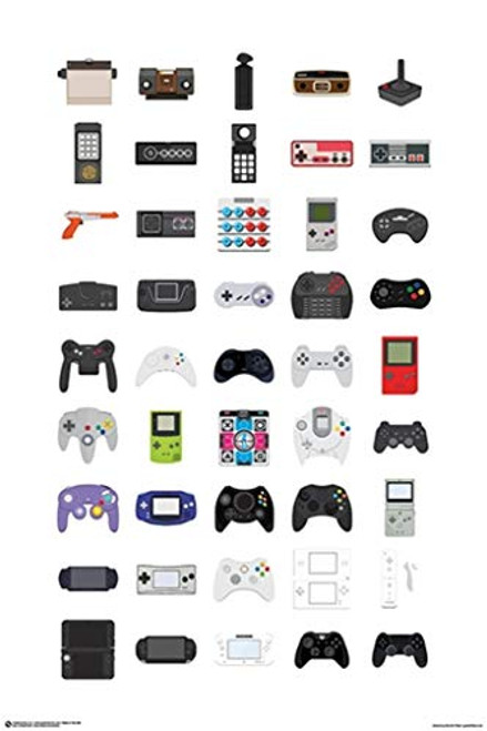 Video Game Controllers Art Print Poster 24x36