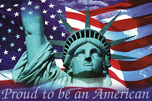 Mitchell Funk Proud to Be an American Statue of Liberty and Flag Poster 36x24