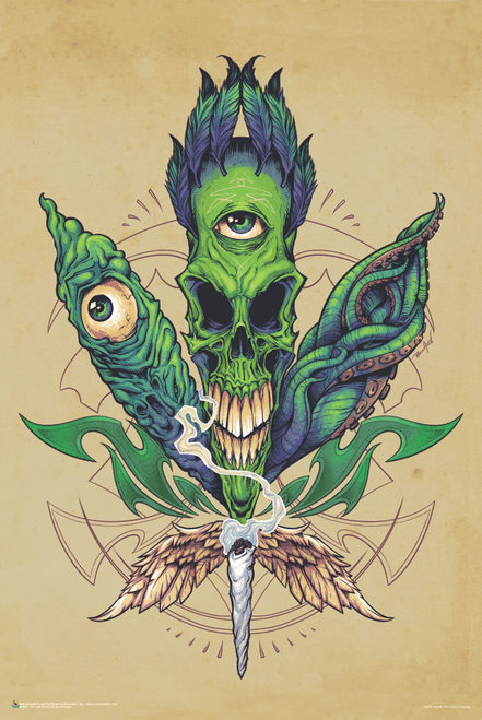 Pot Leaf Skull Poster 24x36 inches