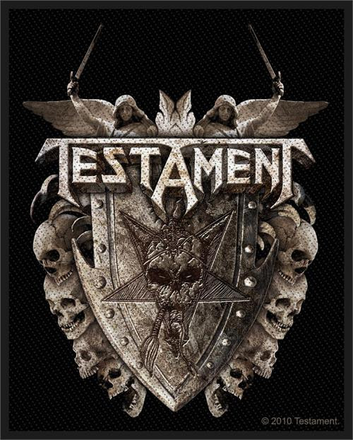 """Testament - Shield - Woven Sew On Patch 3"""" x 3.75"""" Image"""