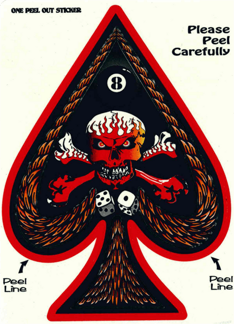 "Ace of Spades Skull Xbones - 3"" X 5"" - Sticker"