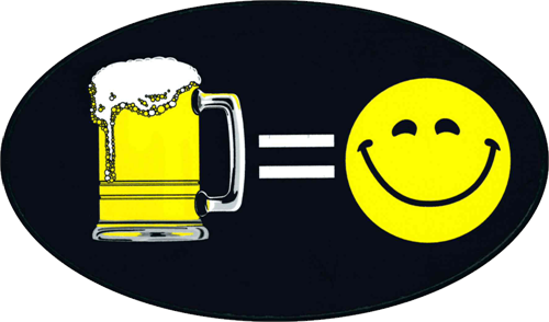 "Beer = Happiness - 3"" X 5"" - Sticker"
