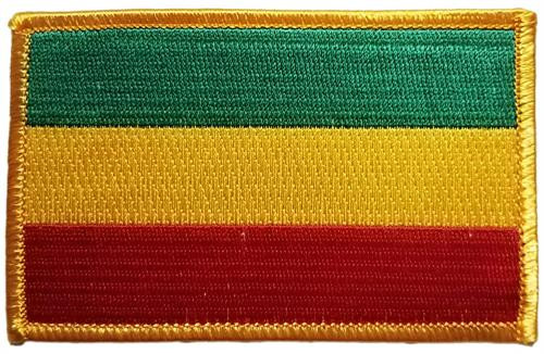 """Rasta Flag - Embroidered Sew On Patch 4"""" X 2 1/2"""" Image"""