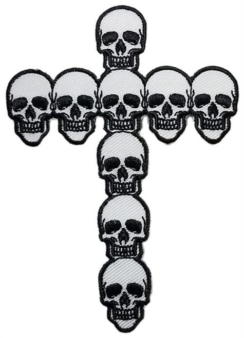 """Skull/Cross Embroidered Sew On Patch - 3"""" X 4"""" Image"""