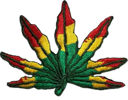 """Leaf - Reggae Embroidered Sew On Patch - 2 1/2"""" X 2"""" Image"""