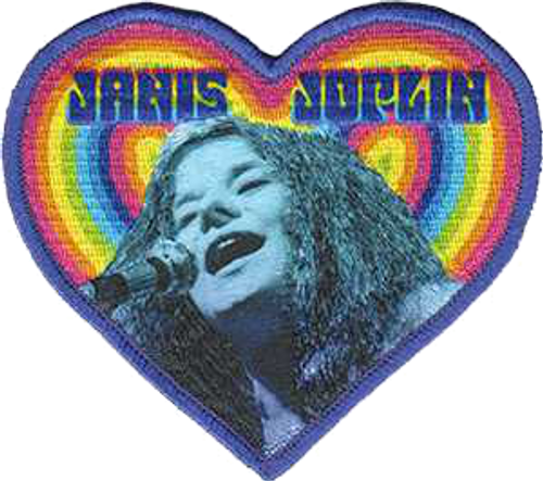 """Janis Joplin Heart - Iron On Embroidered Patch 4"""" x 3.5"""" Image"""