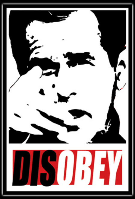 "Disobey Bush - Sticker - 4 5/8"" x 3 3/16"""