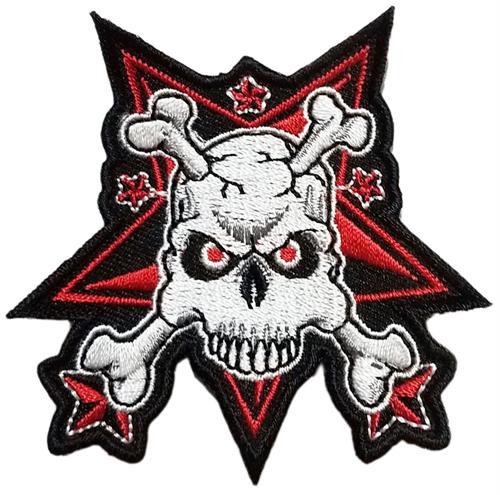 "Skull & Stars - Embroidered Sew On Patch 3"" X 3"" Image"