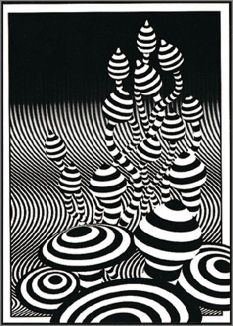 """Op Art Shrooms - Sticker - 2 1/4"""" x 3 1/8"""""""