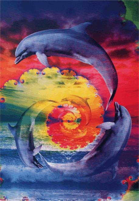 "Fractal Dolphins' - Sticker - 4 3/8"" x 3 1/8"""