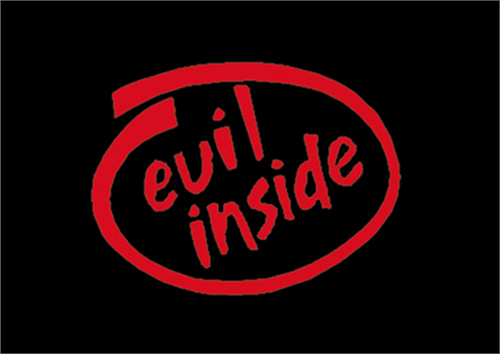 "Evil Inside - Sticker - 4 1/2"" x 3"""
