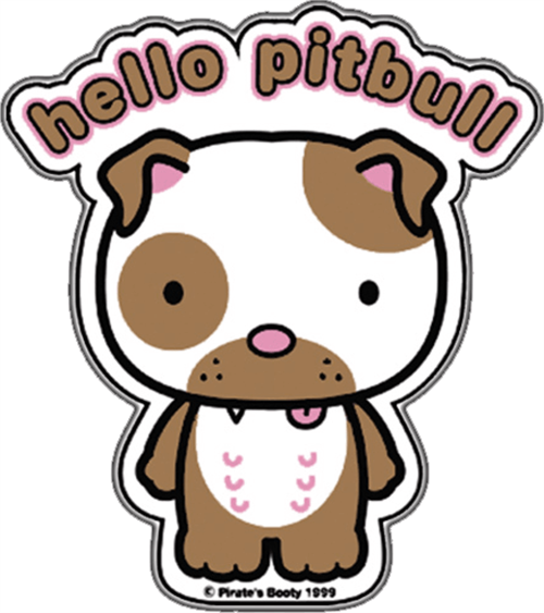 "Hello Pitbull - Sticker - 2 3/4"" x 2 1/2"""