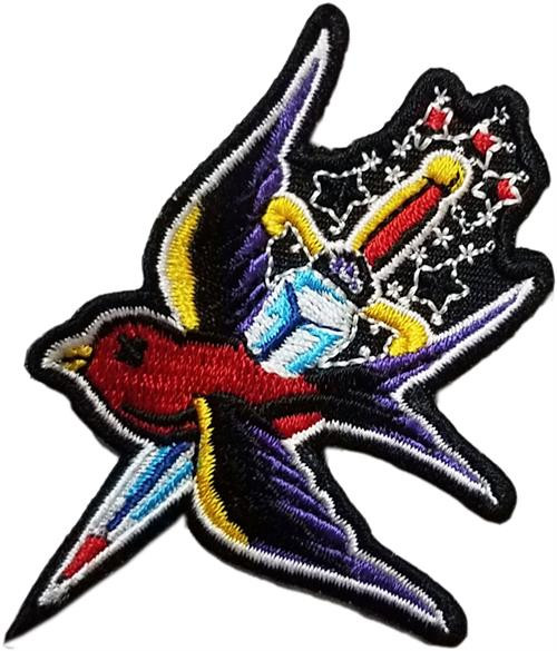 """Bird On Dagger - Embroidered Sew On Patch 2"""" X 3"""" Image"""