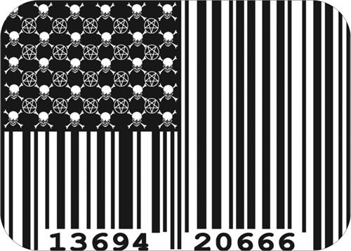 "Skull and Crossbones - Pentragram - Barcode Flag - Sticker - 3 3/4"" x 2 3/4"""