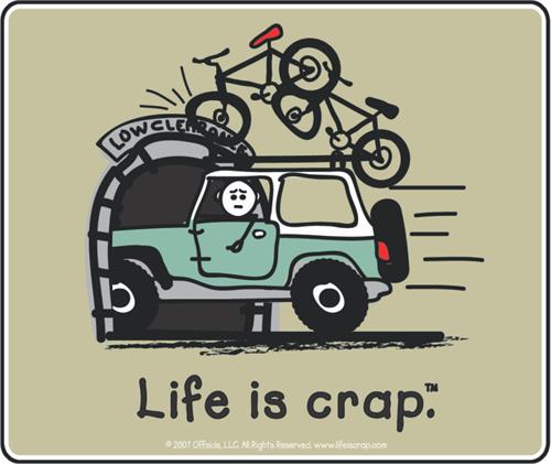 """Life Is Crap - Overpass Bike - Sticker - 4"""" x 3 3/8"""""""