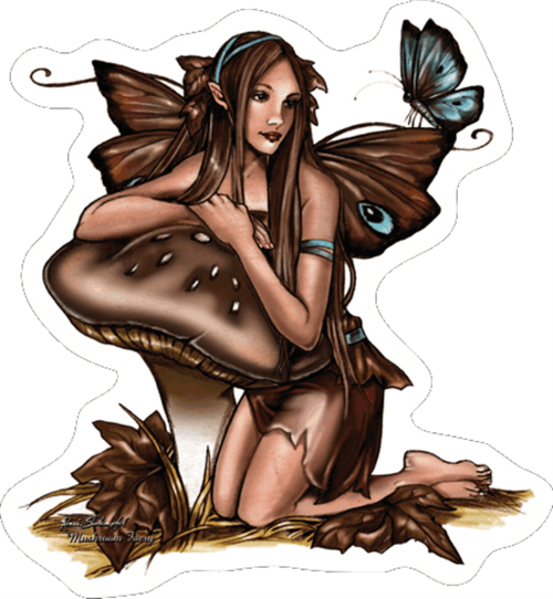 "Mushroom Fairy - Renee Biertempfel - Sticker - 4 1/8"" x 3 7/8"""