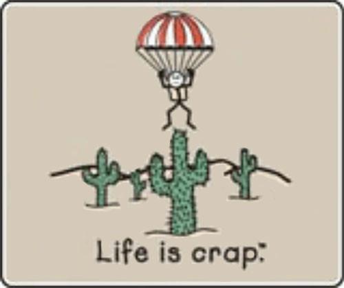"Life Is Crap - Parachute - Sticker - 4"" x 3 3/8"""