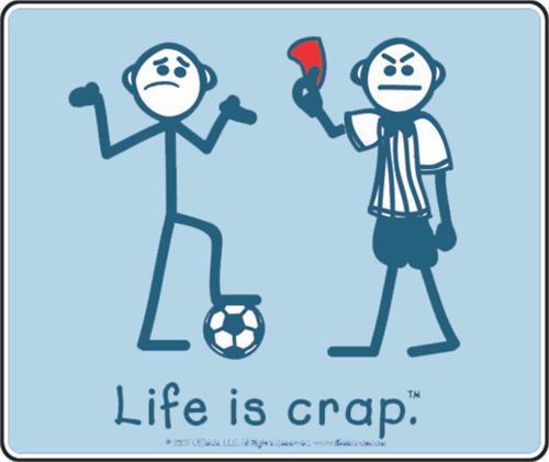 "Life Is Crap - Soccer Balls - Sticker - 4"" x 3 3/8"""
