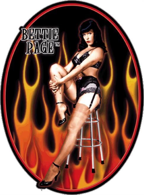 "Bettie Page - Flame Bettie Page - Sticker - 3 1/2"" x 2 5/8"""