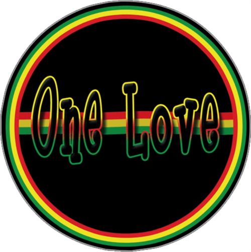 """One Love - Sticker - 3 1/8"""" Round"""