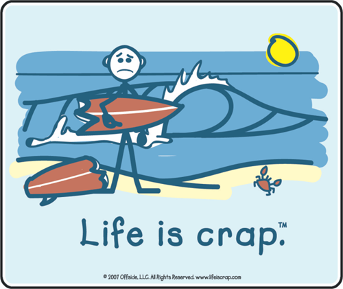 """Life Is Crap - Surfing - Sticker - 3 3/8"""" Round"""