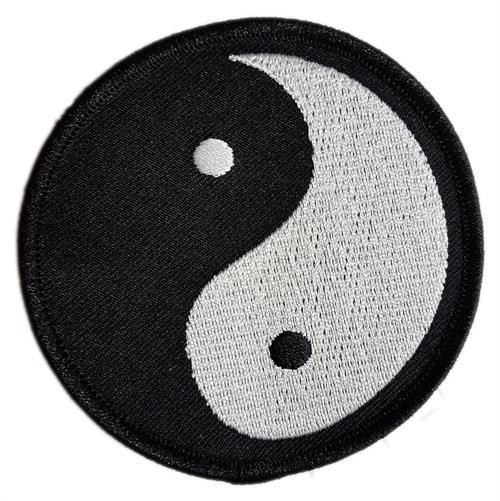 """Yin Yang Embroidered Sew-on Patch 3"""" Round Image"""