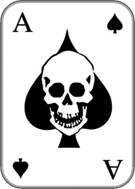 "Skull Ace of Spades - Sticker - 3 3/4"" x 2 5/8"""