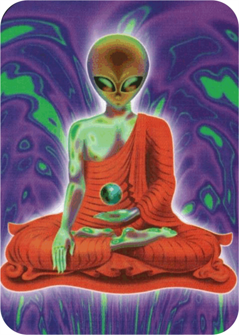 "Alien Buddha- Sticker - 2 1/2"" X 3 3/4"""