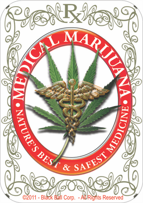 "Medical Marijuana - Sticker - 3 1/2"" x 2 3/4"""