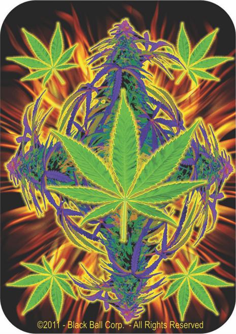 """Flaming Leaf - Sticker - 3 1/2"""" x 2 3/4"""""""