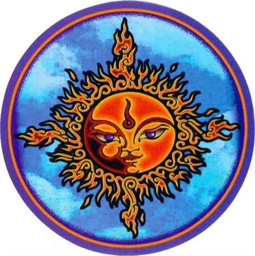"""Mikio Kennedy - Sun Face Round Sticker - 2 1/2"""" Round"""