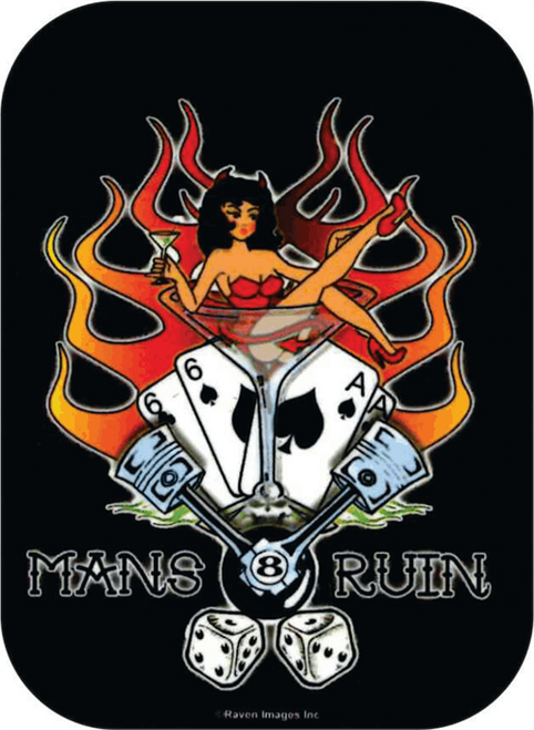 "Man's Ruin  - Mini Sticker - 2"" X 2 3/4"""