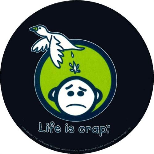 """Life Is Crap Logo Round Sticker - 2 1/2"""" Round"""