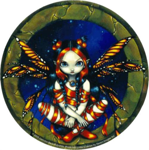 """Strangeling - Starry Night Fairy  - Round Sticker - 2 1/2"""" Round"""