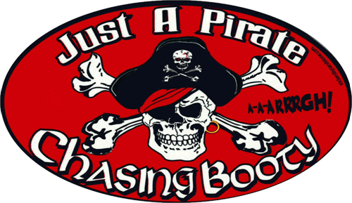 "Pirate Chasing Booty - 3"" X 5"" - Sticker"