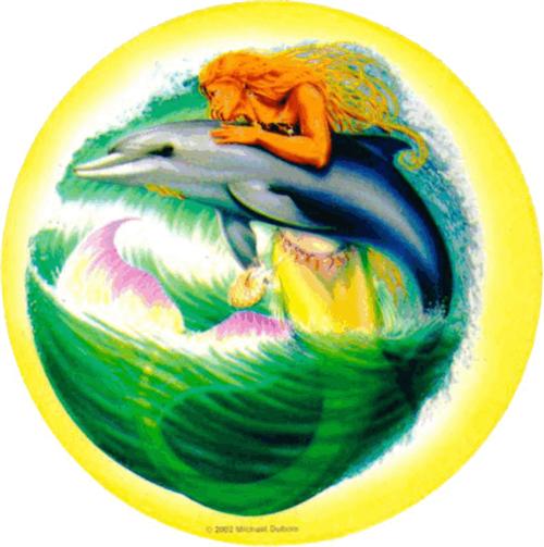 """Mermaid & Dolphin - Mike Dubois  - Round Sticker - 2 1/2"""" Round"""