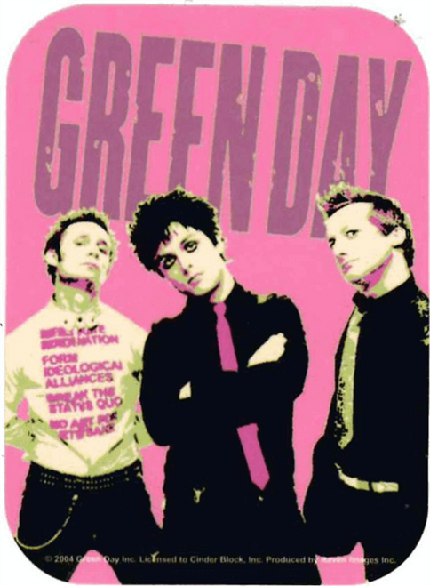 """Green Day - Pink - Mini Sticker - 2"""" X 2 3/4"""""""