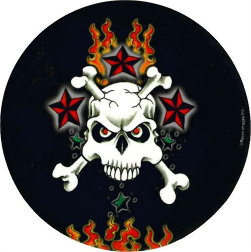 """Skull & Red Stars - Round Sticker - 2 1/2"""" Round"""