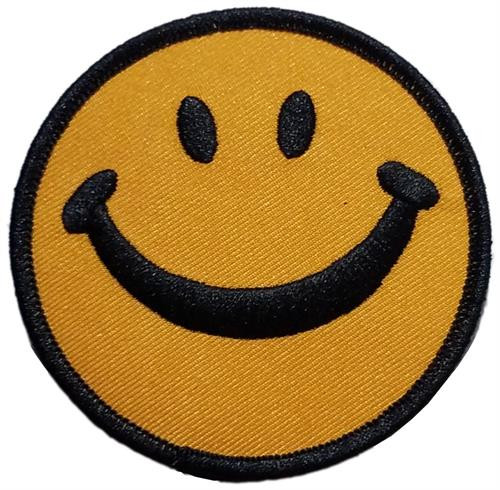 """Smiley Face Embroidered Sew On Patch - 3"""" Round Image"""