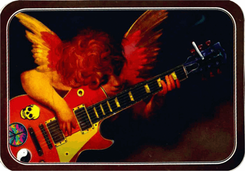 "Angel Playing Guitar Sticker - 2 1/2"" X 3 3/4"""