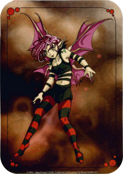 "Neon Dragon - Punk Pixie  Fairy Sticker - 2 1/2"" X 3 3/4"""