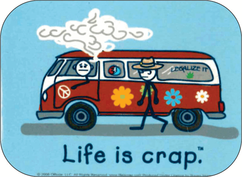 "Smoke Life Is Crap - Mini Sticker - 2"" X 2 3/4"""