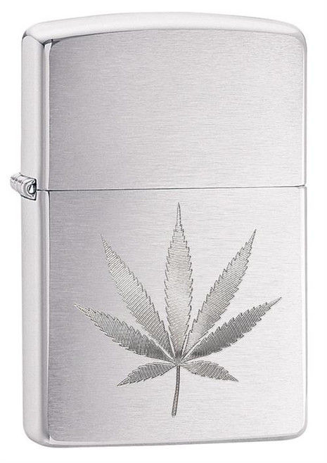 Marijuana Leaf Auto Engrave Zippo Lighter - Brushed Chrome