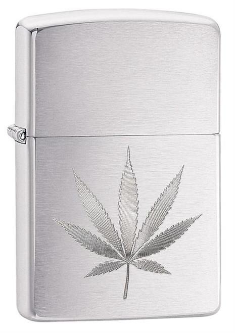 Marijuana Leaf Auto Engrave Zippo Lighter - Brushed Chrome