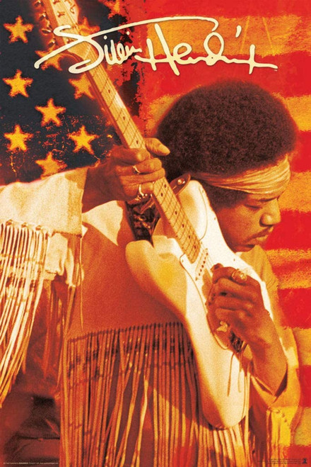Jimi Hendrix - Flag Poster 24x36 inches
